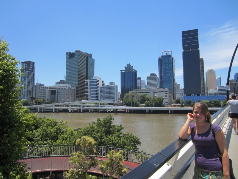 brisbane from bridge with anna-lena